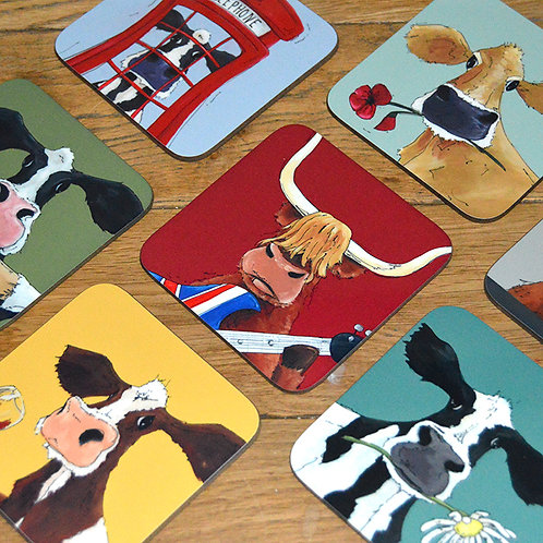 Mix and Match Cow Coaster Set