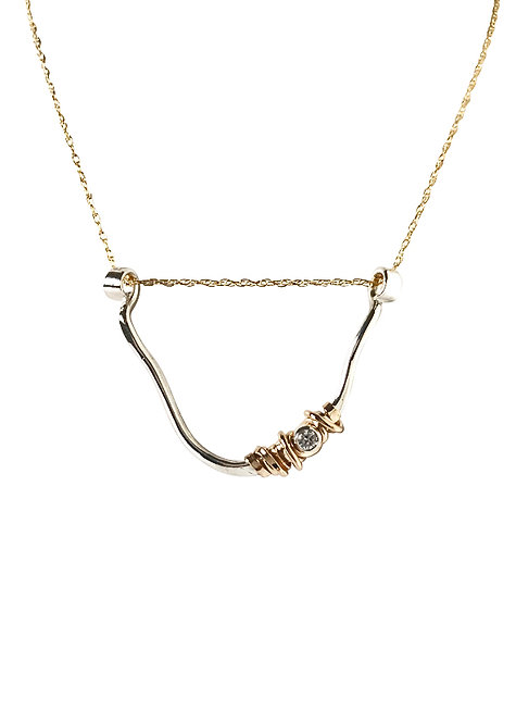 U Shaped Coiled Stone Necklace