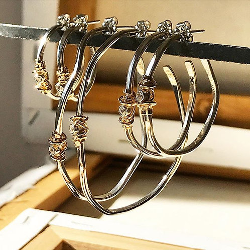 Wavy Coiled Stone Hoops (S, M, L)