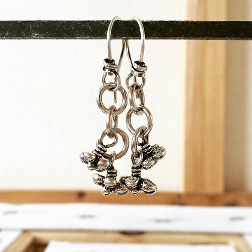 Double Caviar Cluster Earring