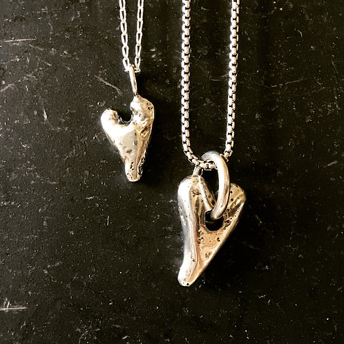 Tiny and Small Courage Heart Necklaces