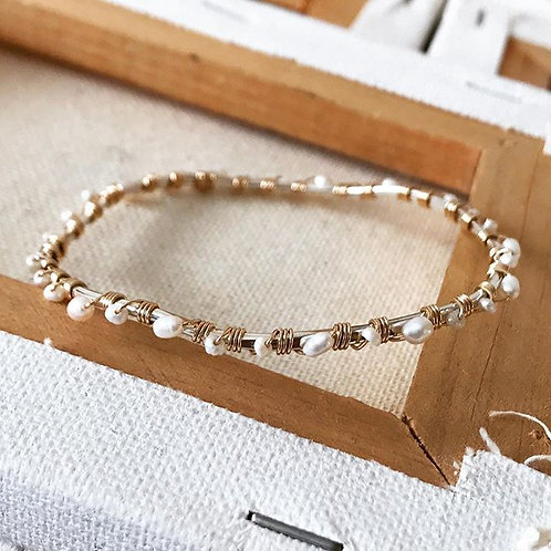 Gold-fill & Pearl Wrapped Bangle