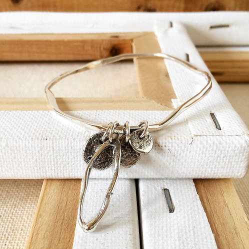 Wave Bangle with Castanet Charms