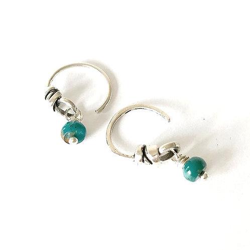 Turquoise Huggie Hoop Earring