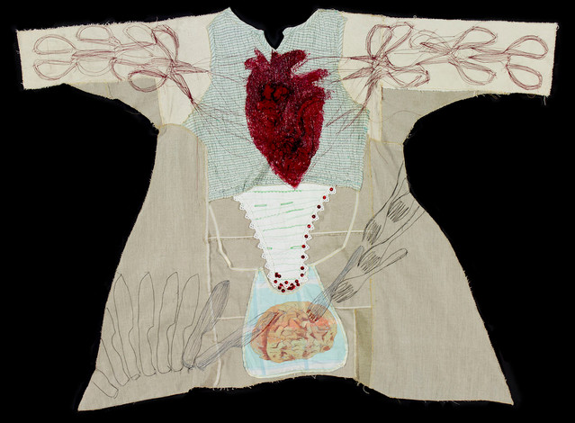 When I want to tear my heart then eat my brain| acrylic & stitchery on different fabrics| 2017