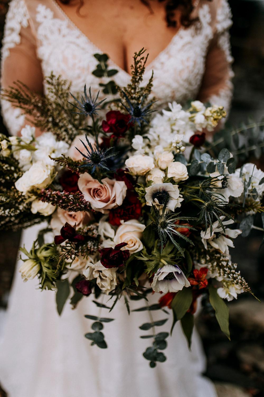 Winter Bridal Bouquet girl in wedding dress
