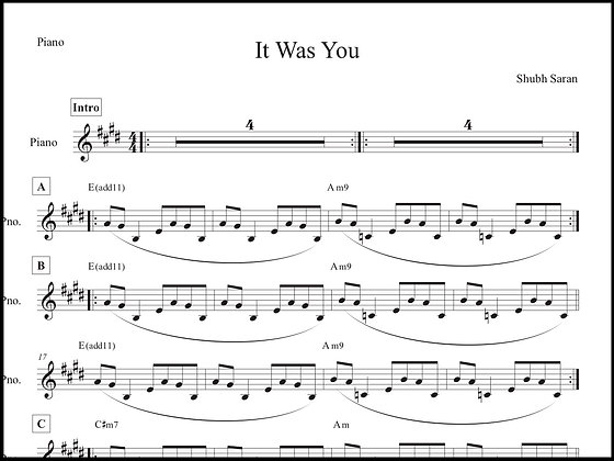 It Was You • Piano