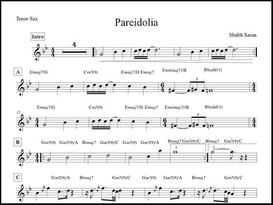 Pareidolia • Tenor Sax