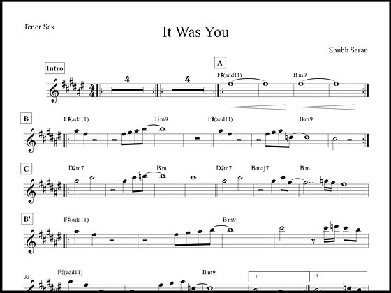 It Was You • Tenor Sax