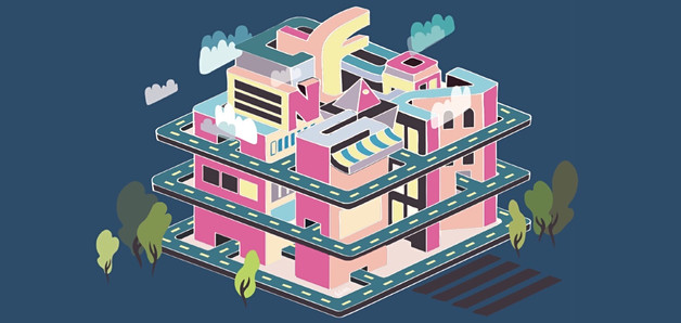 """Isometric architectural illustration for word """"confusion"""""""