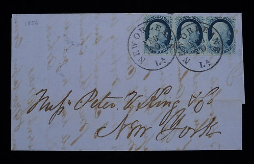 Us Scott #9 1852 3C Strip Of Three Cover Bold New Orleans To New York With Cert