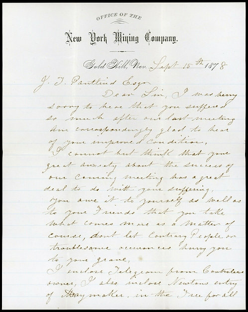 Gold Hill Nevada 1878 New York Mining Co Letter /W Transcript