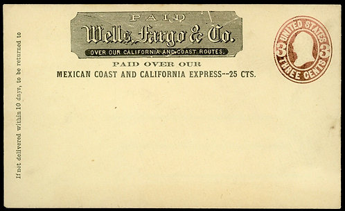 Wells Fargo & Co. Mexican Coast And California Express Unused Cover 25C