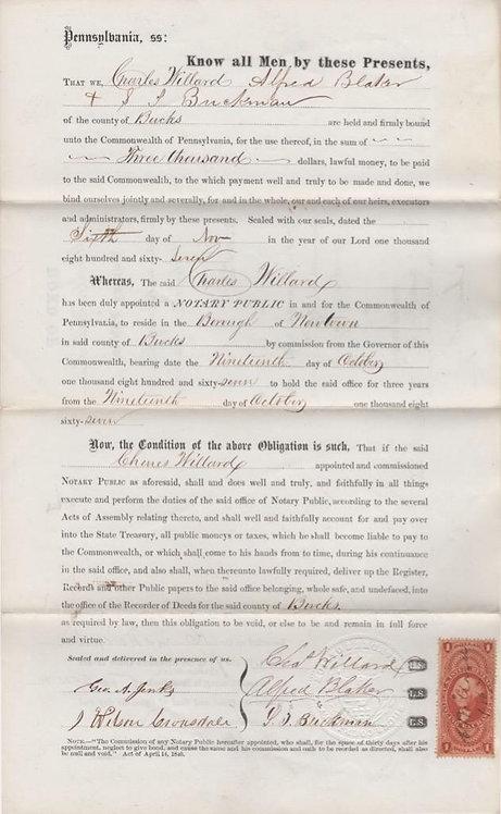 John W Geary Signed Bond Us Scott R73C $1 Revenue Stamp Civil War General