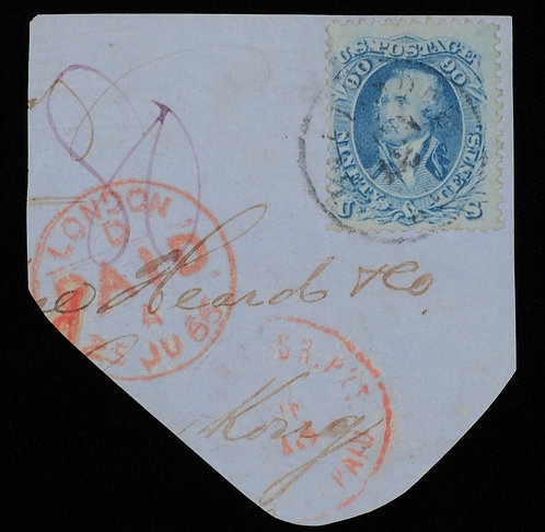 Us Scott #72 1861 90C Cover Piece To Hong Kong Via London Cv $25,000 Ex Siegel