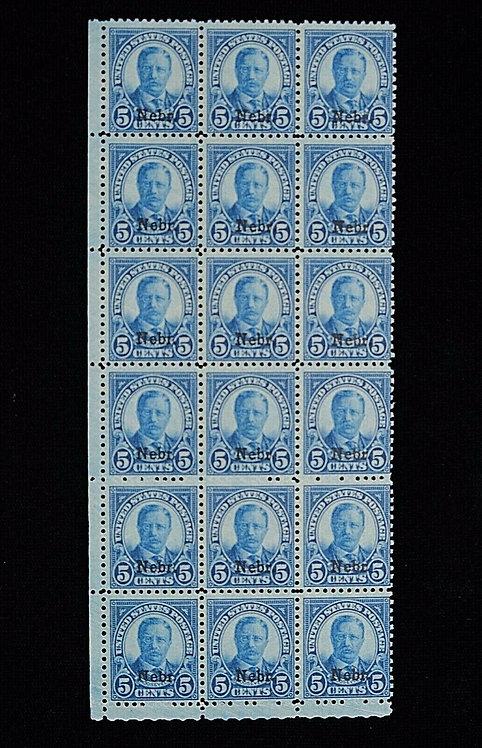 Us Scott #674 1929 5C Deep Blue Nebraska Overprint Mint Nh Block Of 18