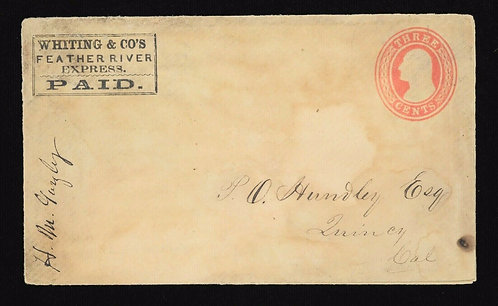 **Ex Rare** Whiting & Co'S Feather River Express On U10 Cover Haller Fw12 Quincy