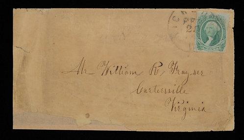 CSA Scott #13B 1863 20C On Cover To Virginia - Confederate Stamp Alliance Cert