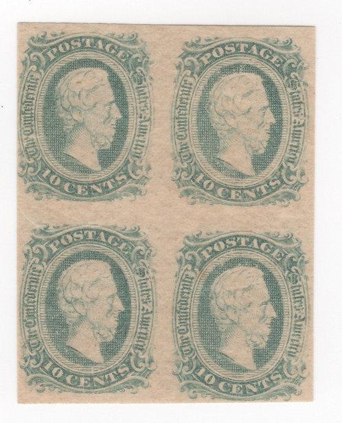 Us Scott CSA #11C Block Of Four Og, Nh, Vf Sharp Color! Confederate States Stamp