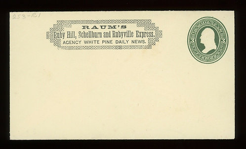 Raum'S Ruby Hill Schellburn And Rubyville Express Unused On U83 Cover W Pf Cert