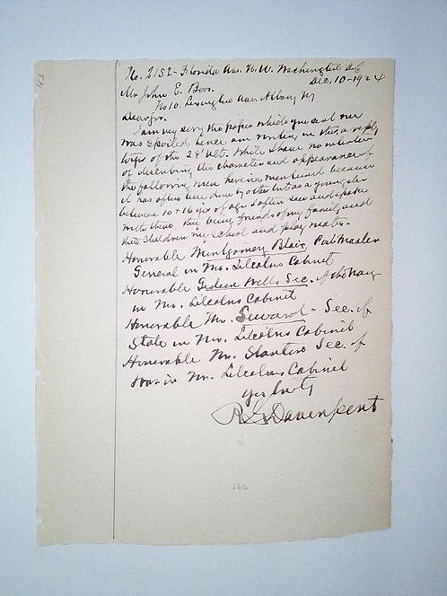 Commodore Richard Davenport Signed 1924 Letter To John Boos