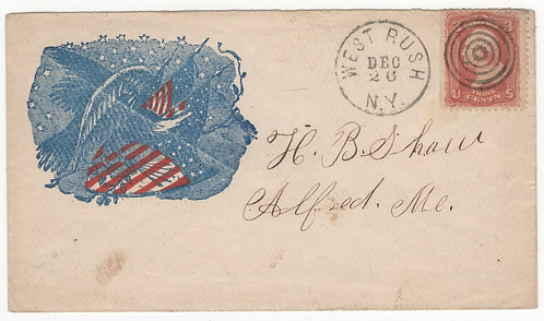 Civil War Patriotic Cover Eagle Flags Stars 5 Ring Target Fancy Cancel Scott 65