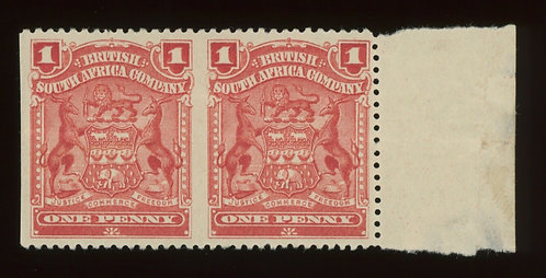 Rare Error - Rhodesia Scott #60A Horizontal Pair Imperf Between Unused Og