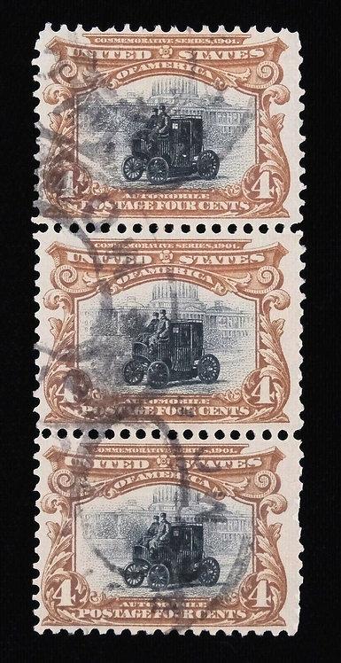 1901 Us Scott #296 4C Vertical Strip Of 3 Pan-American Issue Used