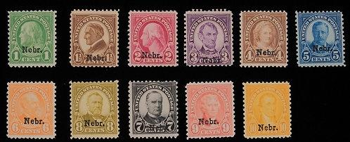 Us Scott #669-679 Nebraska Overprints Set Unused - Cv $450