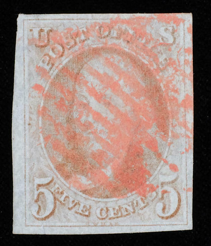 Vf - Us Scott #1 1847 5C Red Brown With Red Grid Cancel - Four Large Margins