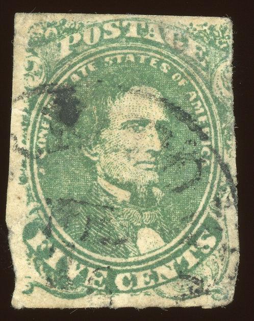 Confederate CSA Scott #1 1861 5C Green Black Cds - Lovely Deep Rich Color