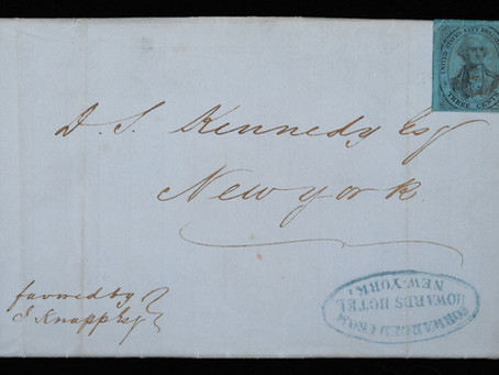 Featured Cover: US CITY DESPATCH POST - MONTREAL TO NEW YORK - HOWARD'S HOTEL COVER