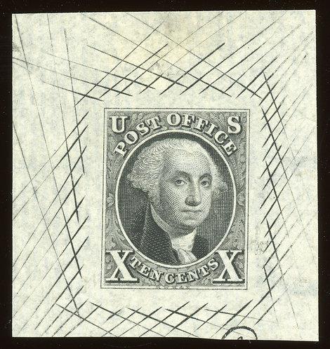 Rare 1847 10C Black Us Scott 2P1C Large Die Proof Papermakers Watermark Fresh Xf