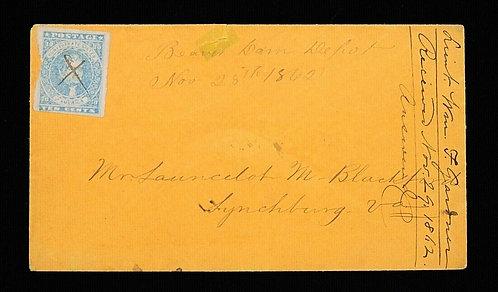 CSA Scott #2B 1861-62 10C Ten Cents On Cover Hoeyer & Ludwig Nov 28Th 1862