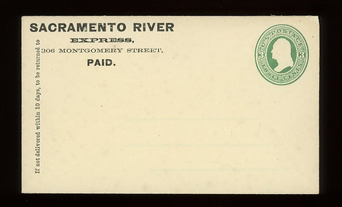 Rare Western Boat Express - Sacramento River Express On 3C Green U82 Cover