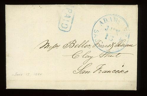 1854 Adams & Co Express Cover Blue Paid  Double-Circle Hs  Sacramento