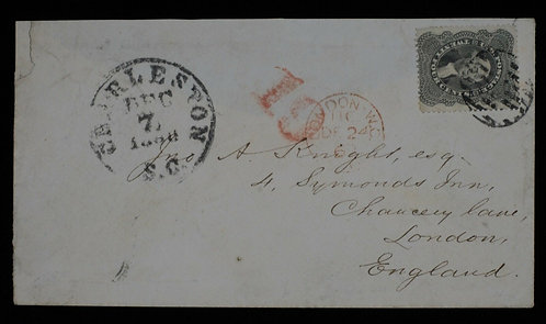 Us Scott #37 1857 24C Cover To London England Trans Atlantic Mail