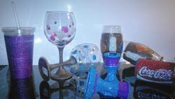 Glitter glassware, candleholders