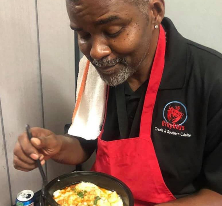 Actor Gary Anthony Sturgis trying shrimp & grits for the first time.