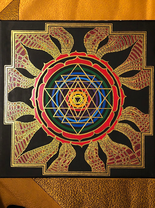 Original hand painted SriYantra