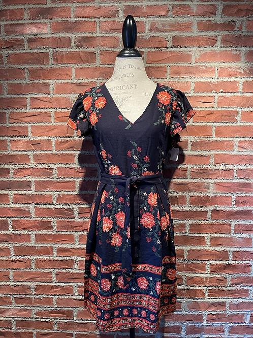 Robe bleue marin avec fleurs oranges