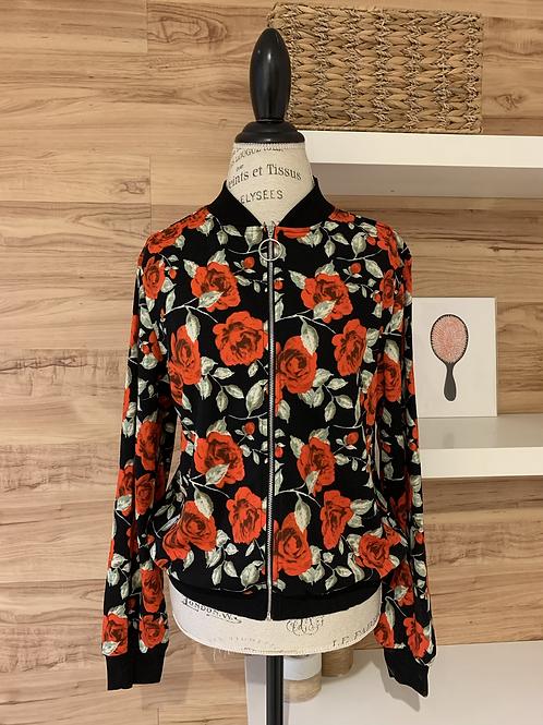 Veste style bomber jacket fleurie