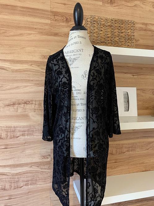 Veste style kimono noire