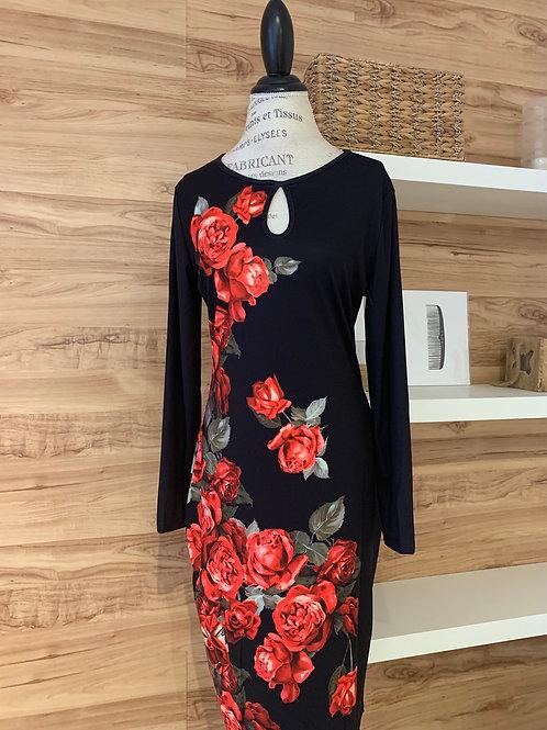 Robe stretch avec grosses fleurs