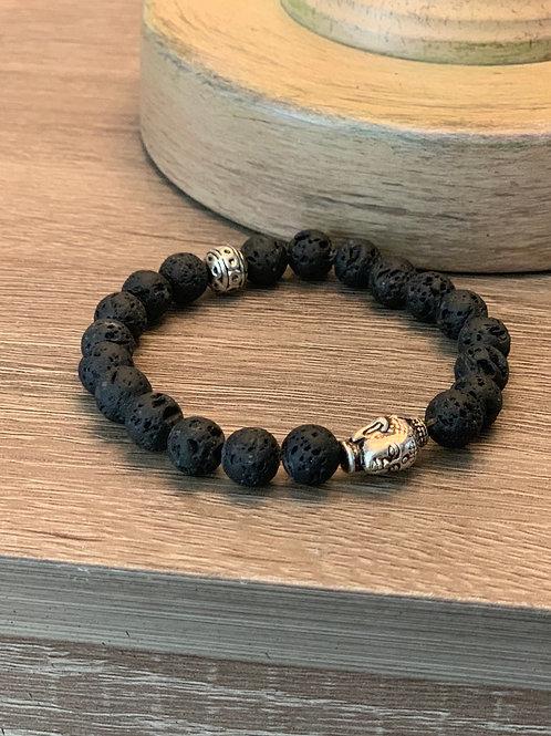 Bracelet en billes noires avec Bouddha