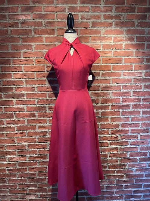 Robe longue avec petites manches rouge