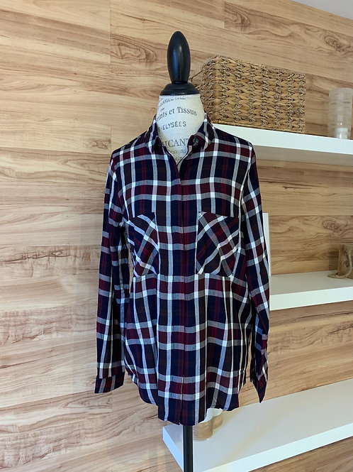 Chemise à carreaux mauve