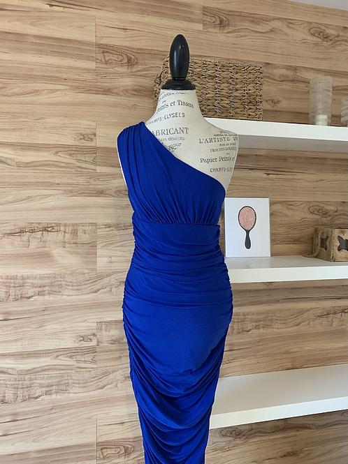Robe longue bleue électrique