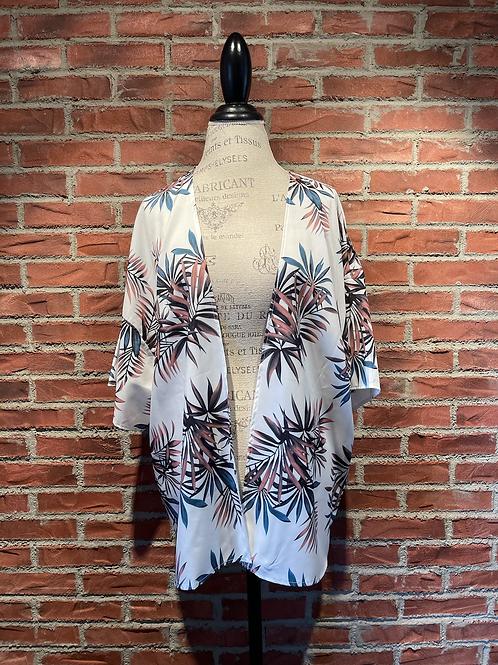 Veste style kimono blanche avec feuillages