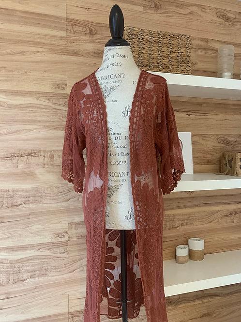 Veste style kimono couleur rouille